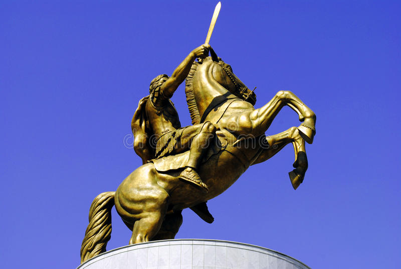 Estatua de Alexander el grande, Skopje imagen de archivo