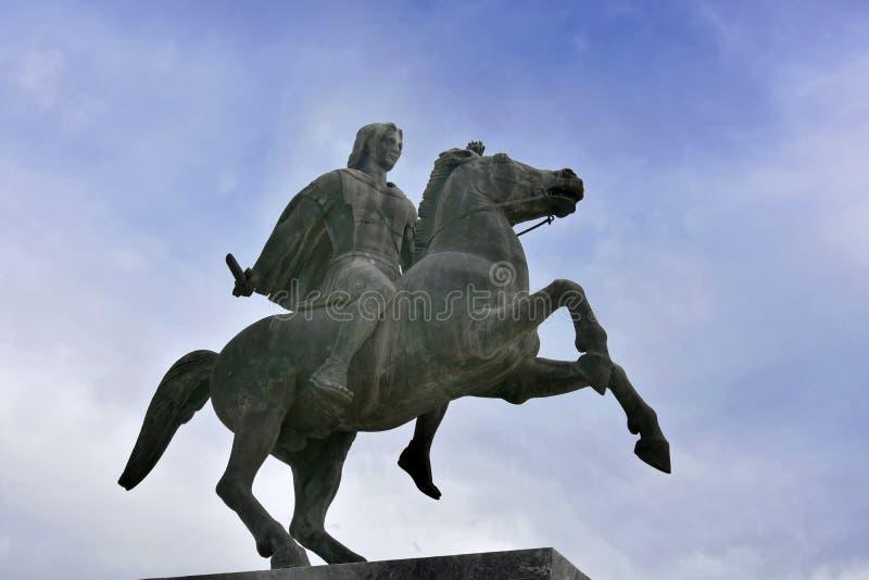 Estatua de Alexander The Great, Salónica, foto de archivo