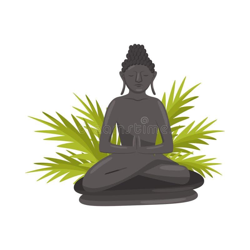 Estatua de Bali Buda y hojas verdes de la palmera Símbolo cultural Monumento histórico Diseño plano del vector stock de ilustración