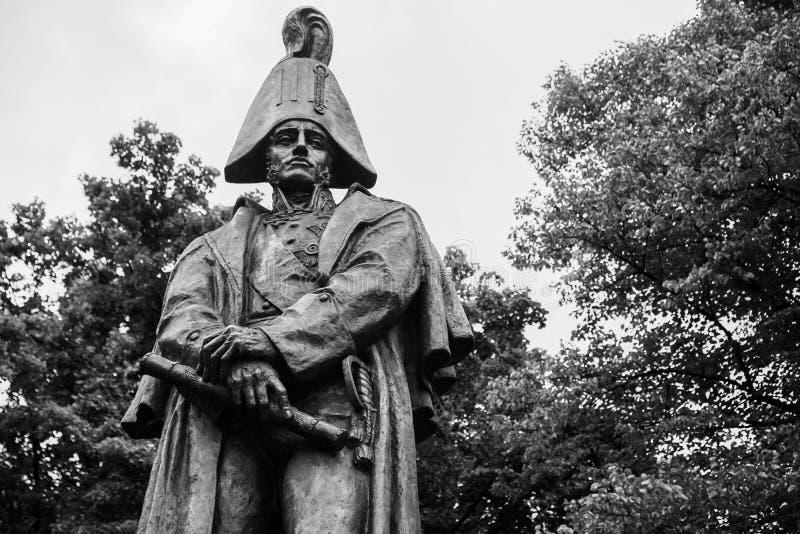 Estatua de Barclay de Tolly en Riga foto de archivo libre de regalías