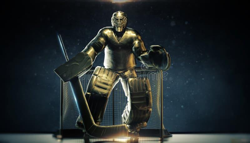 Estatua de bronce brillante del metal del portero del hockey sobre hielo en puertas delanteras con la luz dramática y párticulas  ilustración del vector