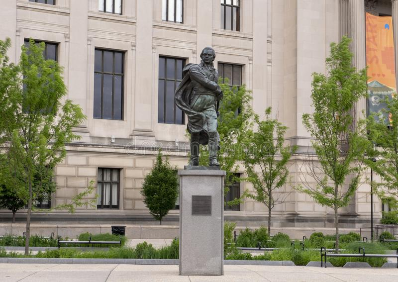 Estatua de bronce de Francisco de Miranda de Lorenzo Gonzalez, Benjamin Franklin Parkway, Philadelphia, Pennsylvania foto de archivo