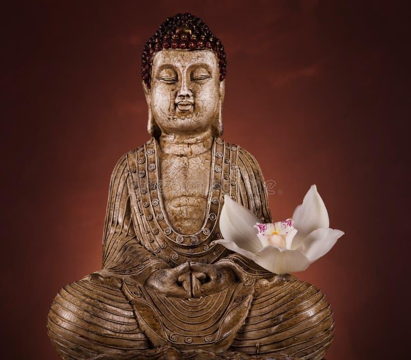 Estatua de Buda con la flor de la orquídea foto de archivo libre de regalías