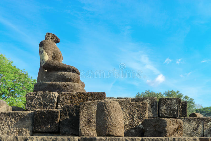 Estatua de Buda sin la pista, complejo de Candi Sewu en Java, Indonesi imagen de archivo libre de regalías