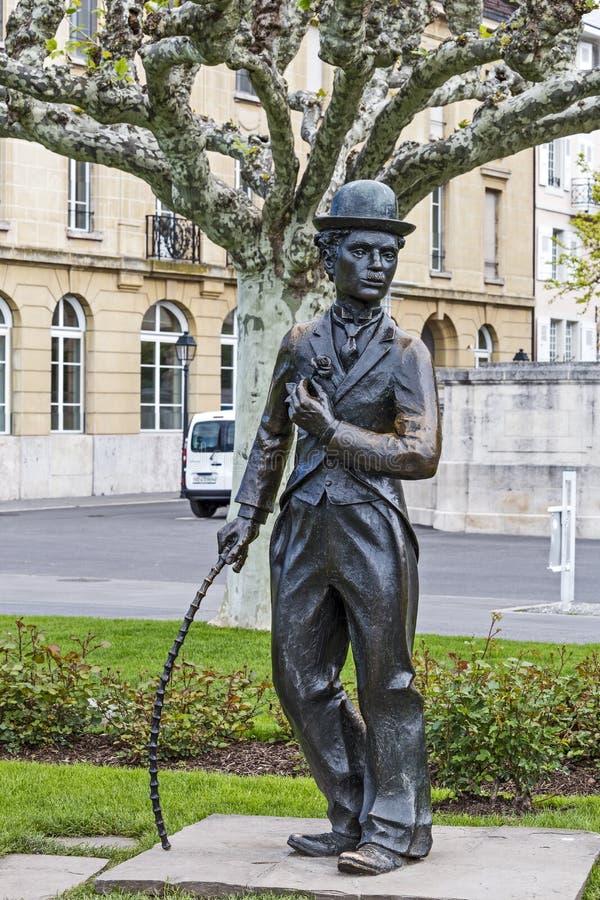 Estatua de Charlie Chaplin en Vevey imágenes de archivo libres de regalías