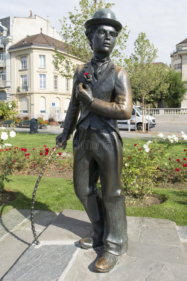 Estatua de Charlie Chaplin en Vevey, Suiza foto de archivo
