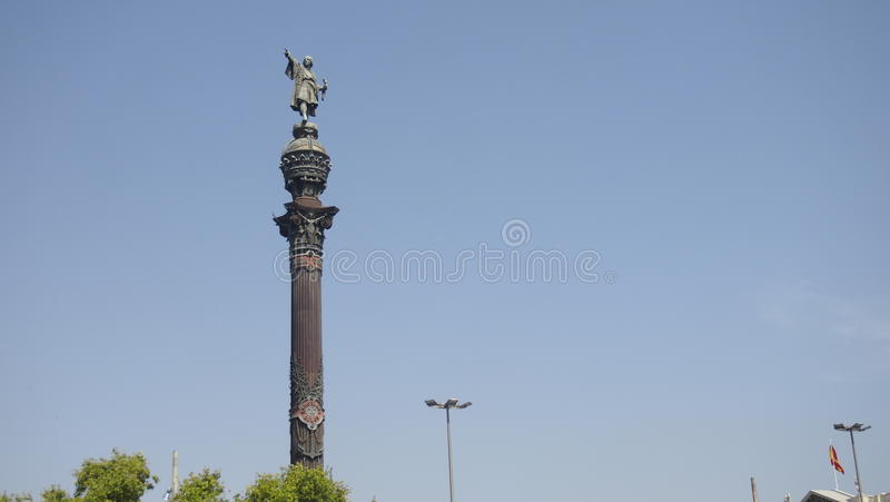 Estatua de Christopher Columbus en Barcelona imagen de archivo libre de regalías