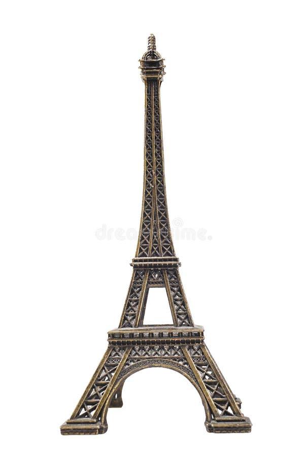 Estatua de cobre amarillo de la torre Eiffel imagenes de archivo