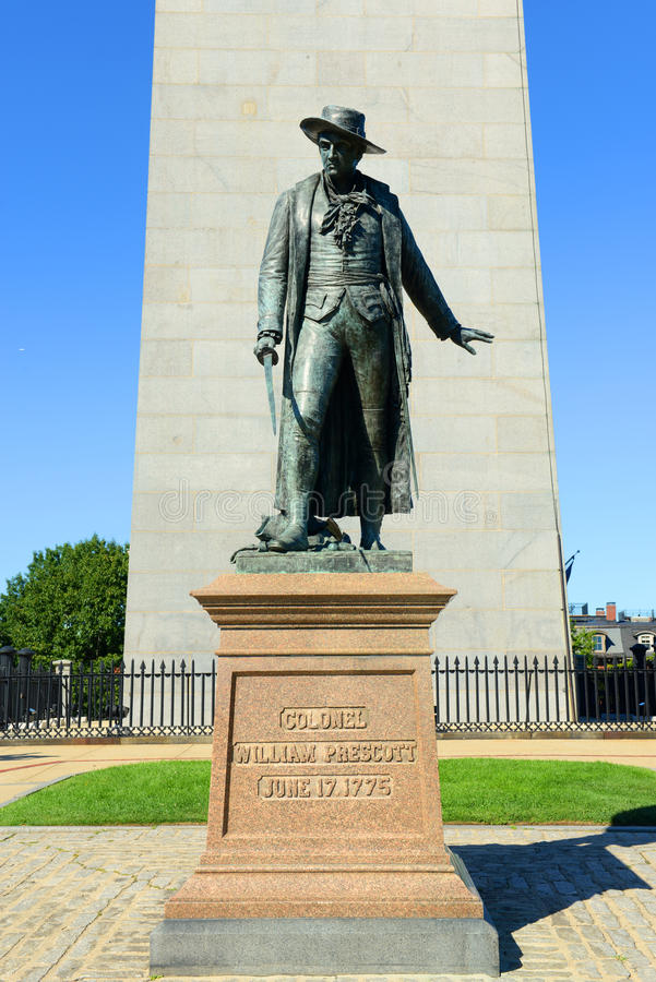 Estatua de coronel William Prescott, Charlestown, Boston fotos de archivo libres de regalías
