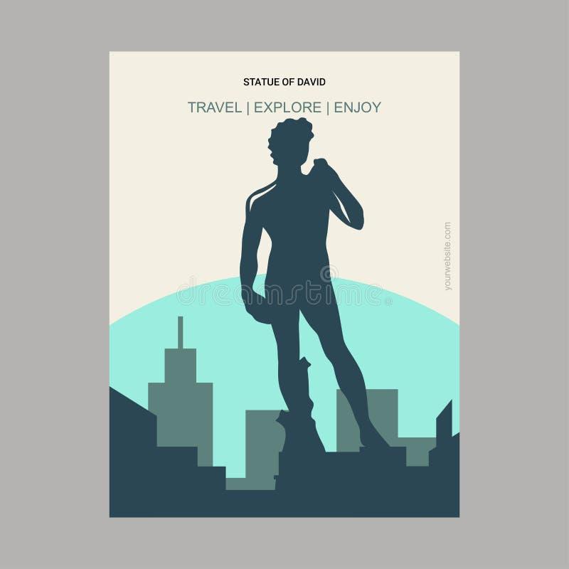 Estatua de David Florence, cartel Te de la señal del estilo del vintage de Italia libre illustration