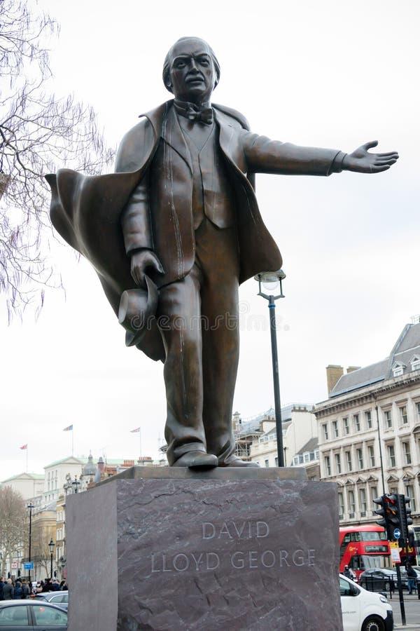 Estatua de David Lloyd George en Londres imagen de archivo libre de regalías