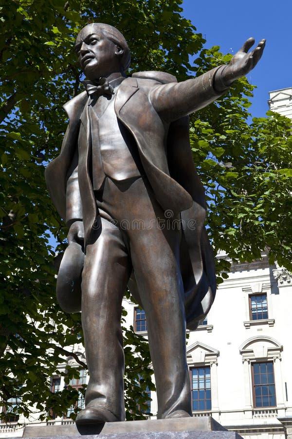 Estatua de David Lloyd George en Londres fotografía de archivo