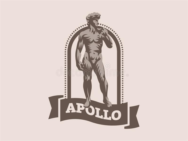 Estatua de David o de Apolo ilustración del vector
