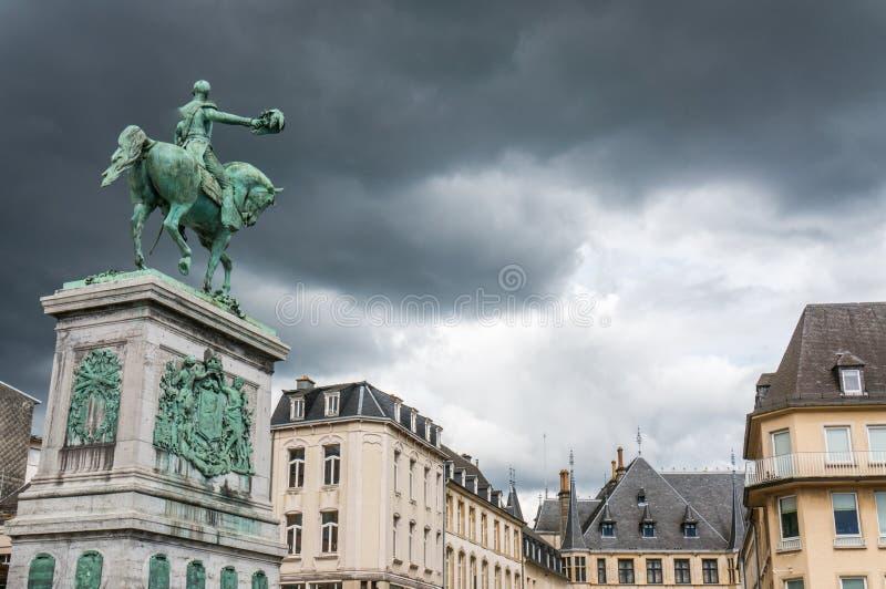 Estatua de duque magnífico Guillermo II, Luxemburgo imágenes de archivo libres de regalías
