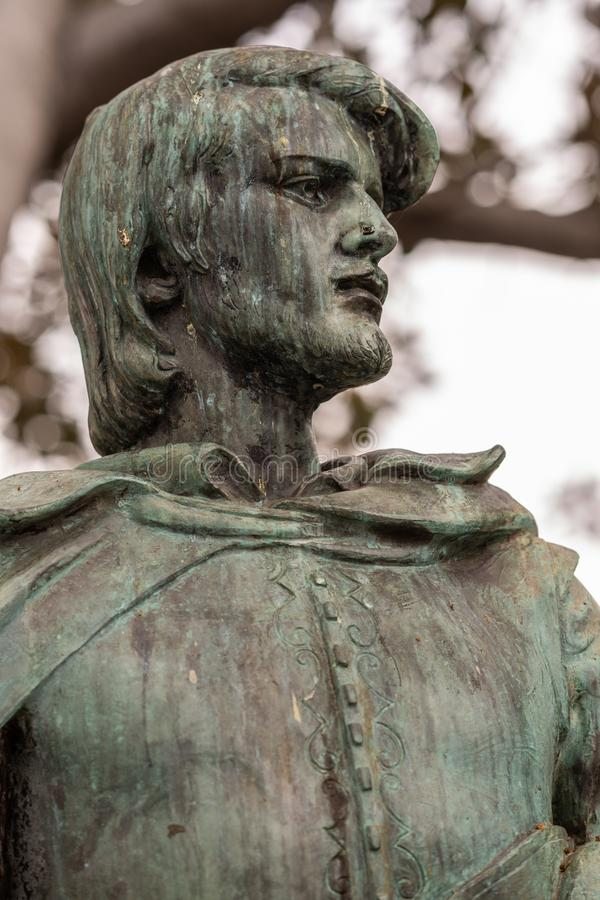 Estatua de Felipe De Neve, fundador de Los Ángeles California fotografía de archivo libre de regalías