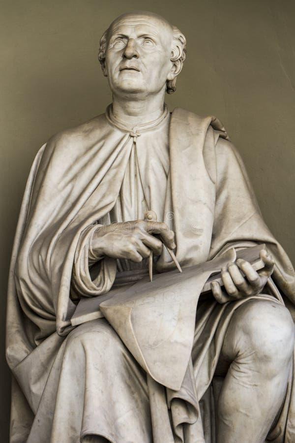 Estatua de Filippo Brunelleschi en Florencia, Italia imágenes de archivo libres de regalías