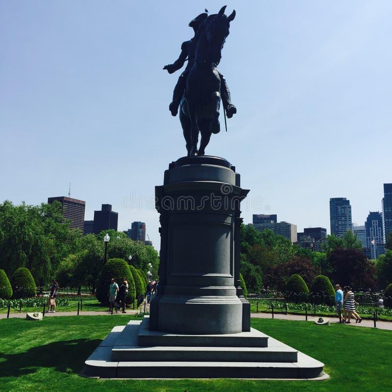 Estatua de George Washington en el campo común de Boston foto de archivo