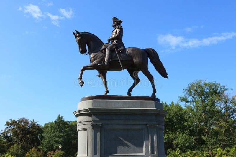 Estatua de George Washington en parque del campo común de Boston imagenes de archivo
