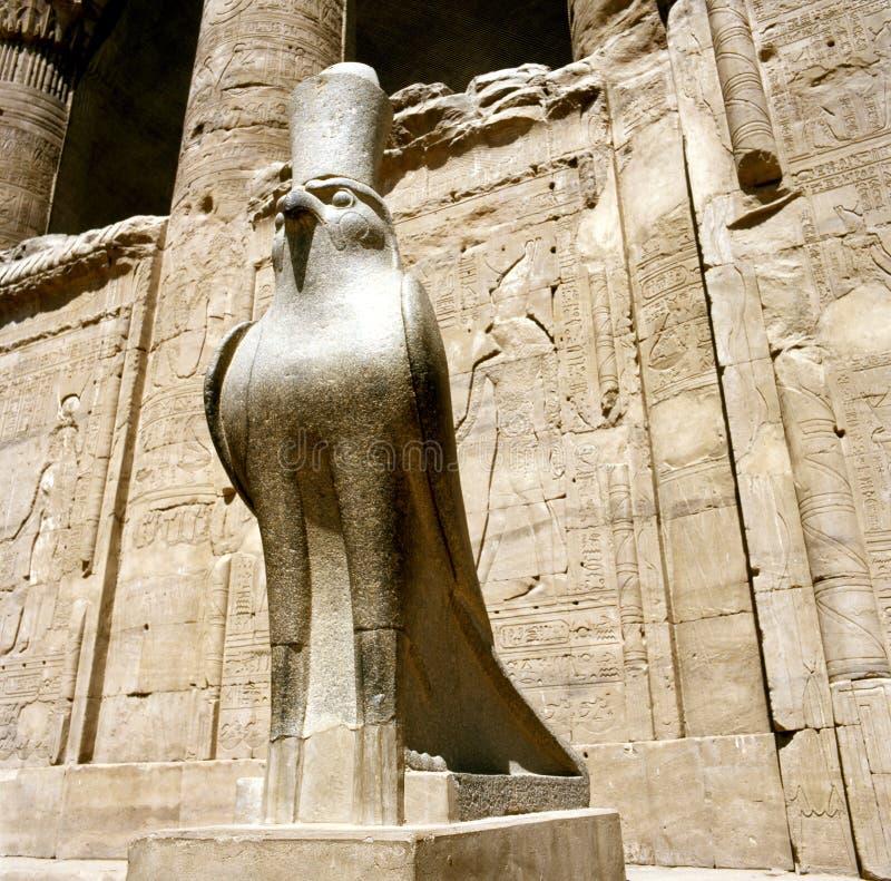 Estatua de Horus en el templo de Horus en Edfu/Idfoe foto de archivo