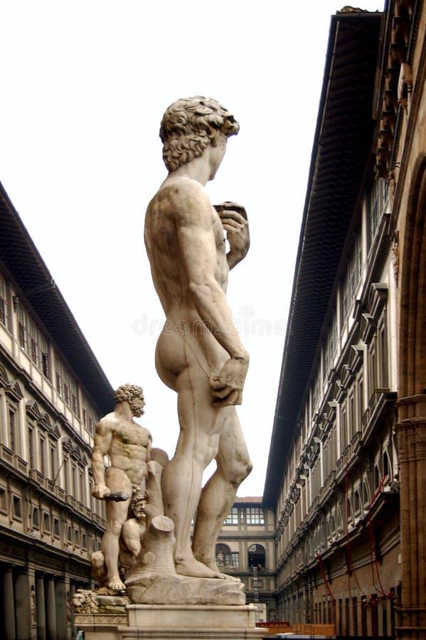 Estatua de Italia Firenze Uffizi de David imagenes de archivo