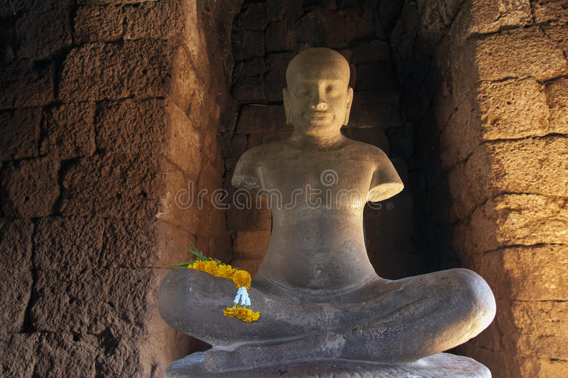 Estatua de Jayavarman VII fotografía de archivo libre de regalías