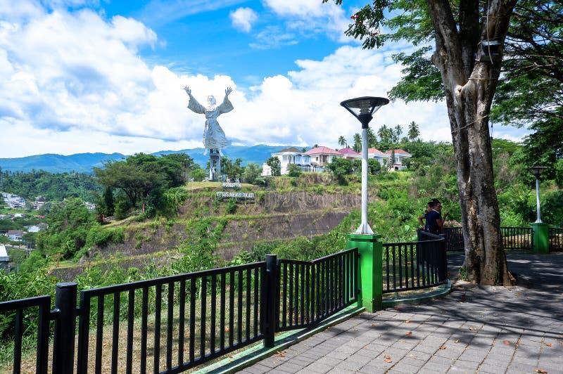Estatua de la bendición de Cristo en Manado, Sulawesi del norte fotografía de archivo libre de regalías