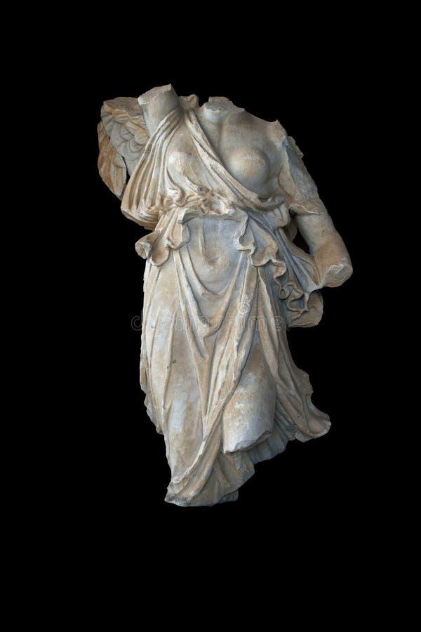 Estatua de la diosa griega Nike con el camino imagen de archivo
