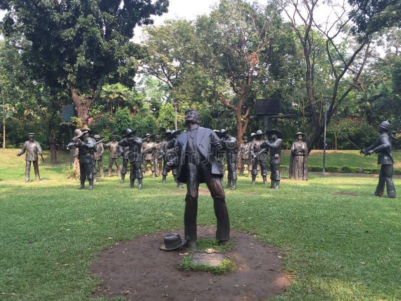 Estatua de la ejecución de Jose Rizal en el parque de Rizal en Manila, Filipinas foto de archivo libre de regalías