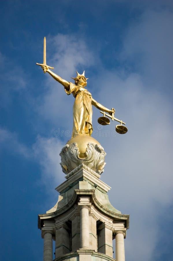 Estatua de la justicia, viejo Bailey fotos de archivo