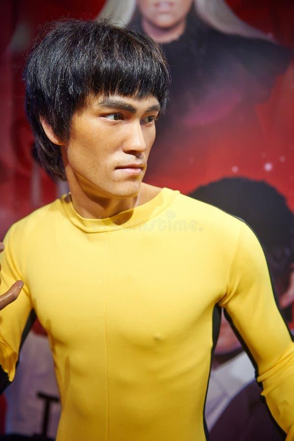Estatua de la Lee-cera de Hong Kong Star Bruce imágenes de archivo libres de regalías