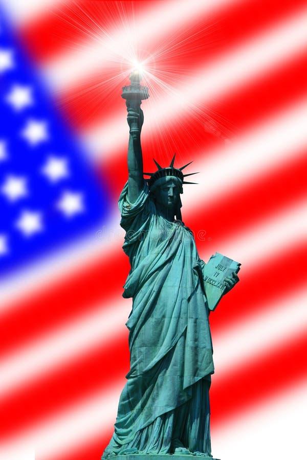 Estatua de la libertad con el indicador ilustración del vector