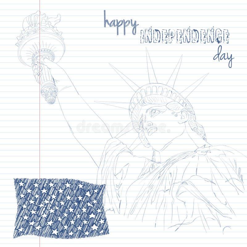 Estatua de la libertad con el indicador americano Cree en arte del garabato Diseño para cuarto la celebración los E.E.U.U. de jul stock de ilustración