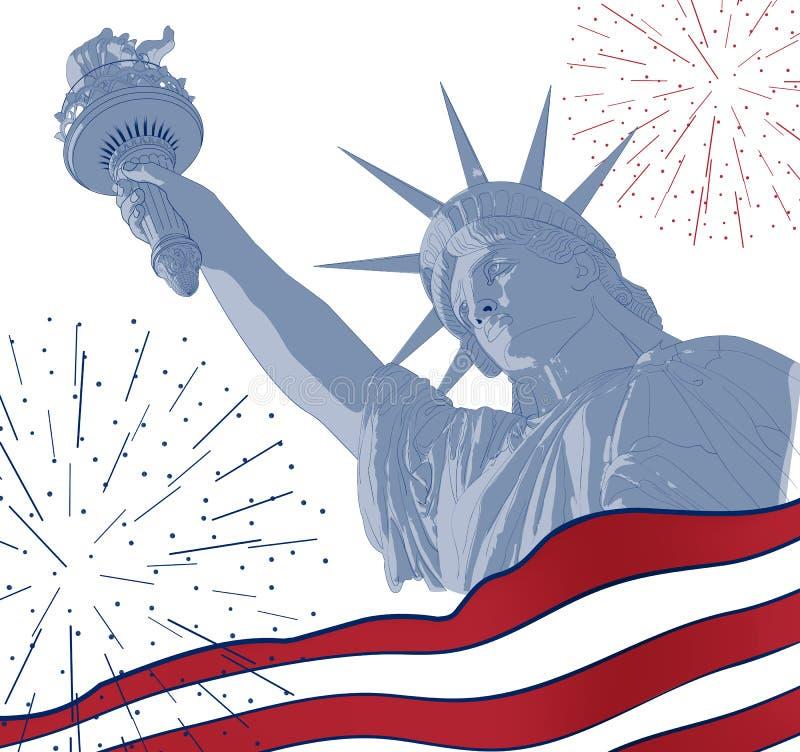 Estatua de la libertad con la bandera americana en el frente y el fuego artificial Diseño para cuarto la celebración los E.E.U.U. libre illustration