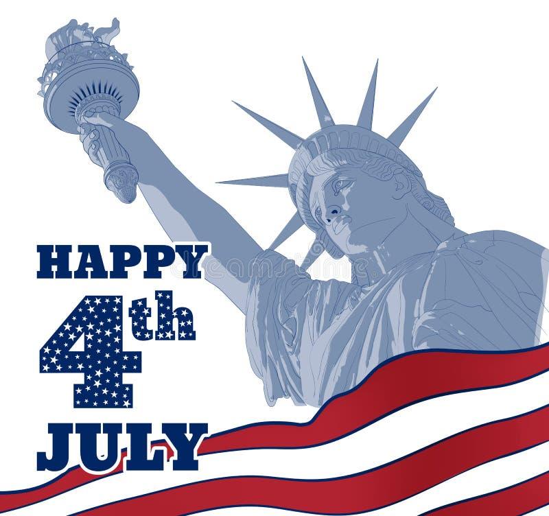 Estatua de la libertad encendido con la bandera americana en el frente Diseño para cuarto la celebración los E.E.U.U. de julio Sí libre illustration