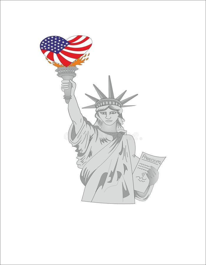 ESTATUA DE LA LIBERTAD DE LOS E.E.U.U. stock de ilustración