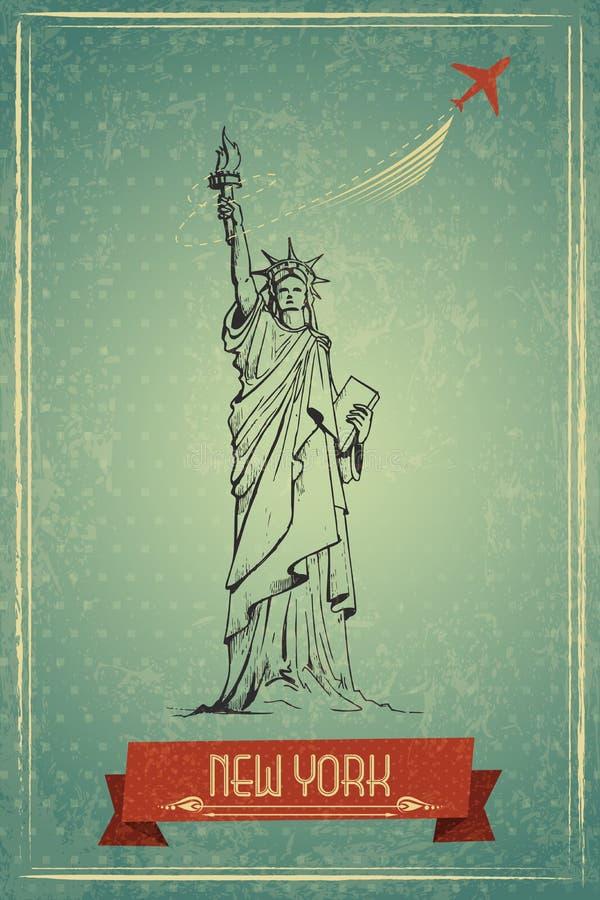 Estatua de la libertad para el cartel retro del viaje stock de ilustración