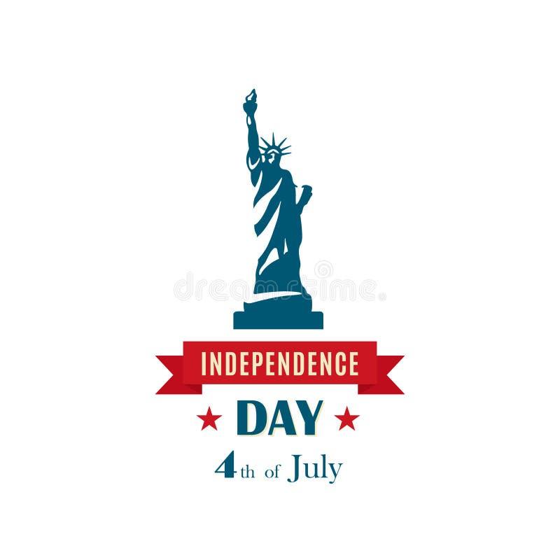 Estatua de la libertad para el 4 de julio, celebración los E.E.U.U. del Día de la Independencia ilustración del vector