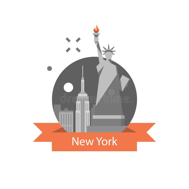 Estatua de la libertad, símbolo de Nueva York, destino del viaje, señal famosa, los Estados Unidos de América, concepto inglés de libre illustration