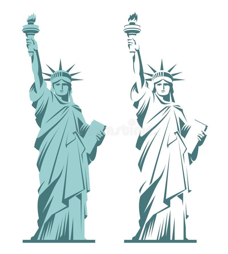 Estatua de la libertad y de la puesta del sol de New York City ilustración del vector