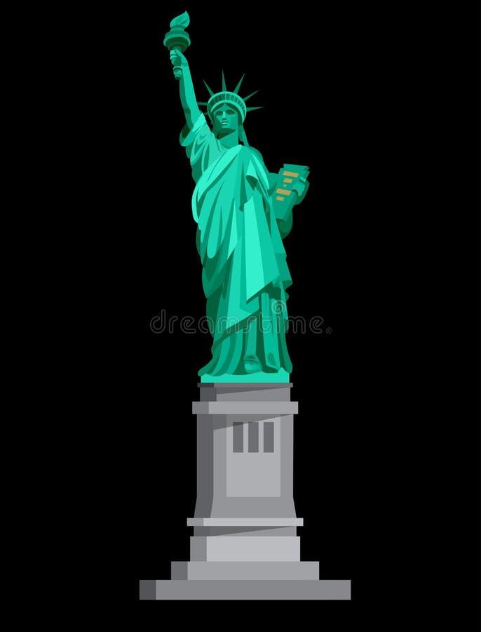 Estatua de la libertad y de la puesta del sol de New York City EE.UU. stock de ilustración