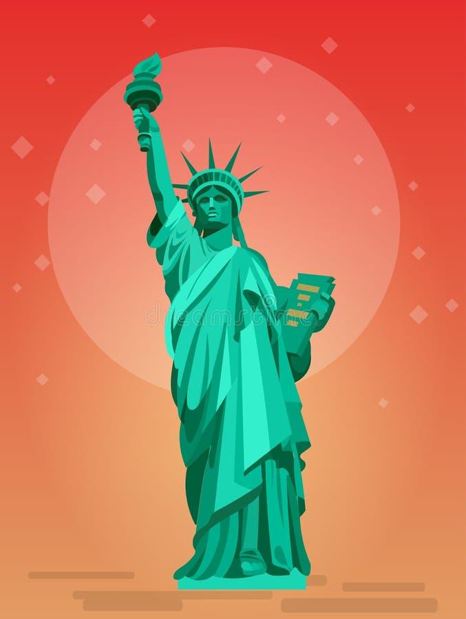 Estatua de la libertad y de la puesta del sol de New York City EE.UU. libre illustration
