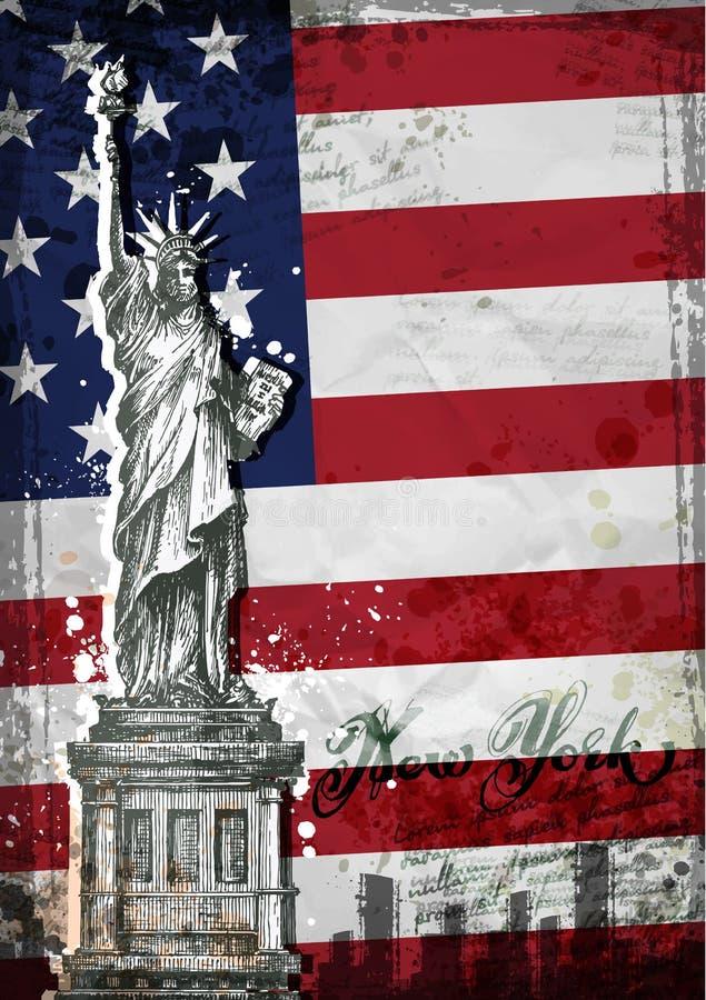 Estatua de la libertad y de la puesta del sol de New York City Estados Unidos señalan por medio de una bandera libre illustration