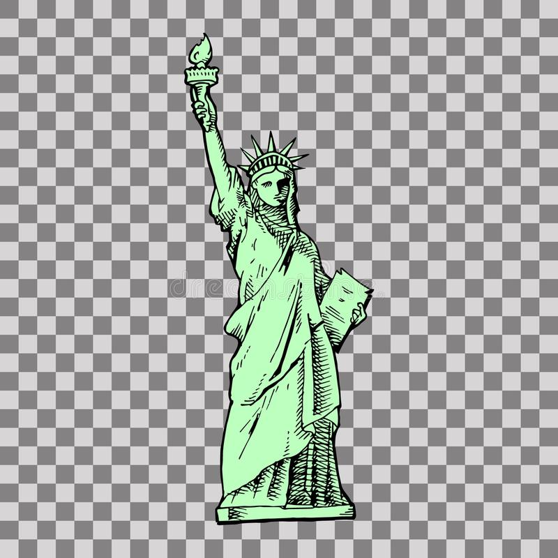 Estatua de la libertad y de la puesta del sol de New York City libre illustration