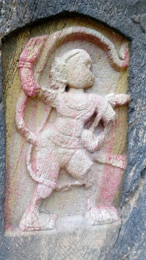 Estatua de la roca de Anjaneyaswami fotografía de archivo
