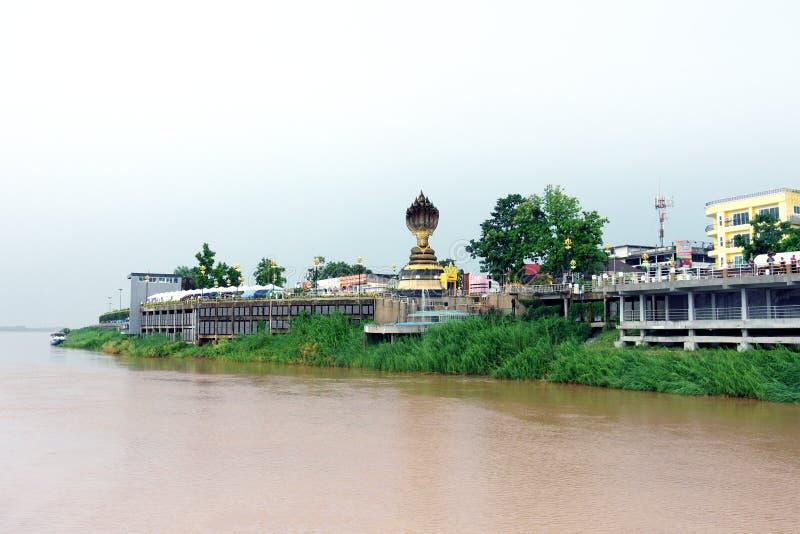 Estatua de la serpiente Siete-dirigida situada por el río Mekong imágenes de archivo libres de regalías