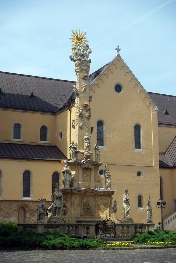 Estatua de la trinidad santa, Veszprem, Hungría imagenes de archivo