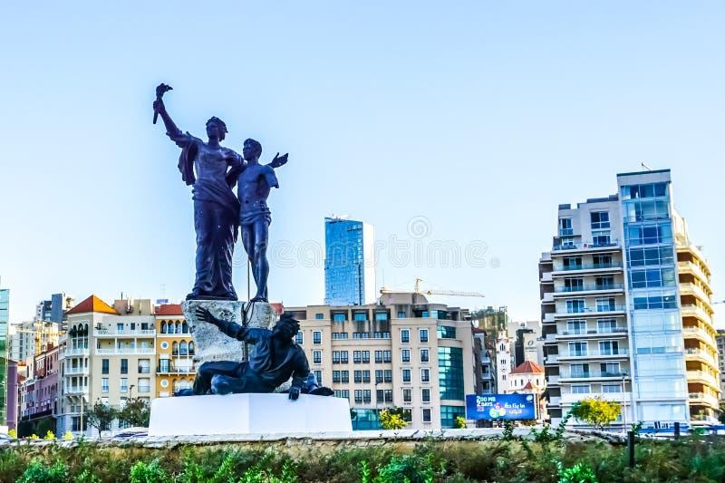 Estatua 01 de los mártires de Beirut imágenes de archivo libres de regalías