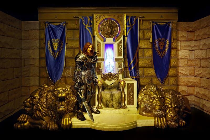 Estatua de Lothar del campeón del caballero de Warcraft en los tussauds de la señora en Hong-Kong fotografía de archivo libre de regalías