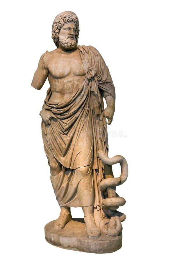 Estatua de mármol de dios Asclepius del griego clásico fotografía de archivo