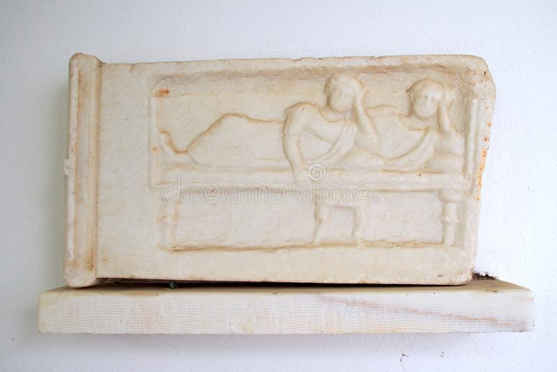 Estatua de mármol del griego clásico, figuras de descanso imágenes de archivo libres de regalías